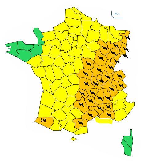 Orages tout l 39 est de la france en alerte orange - L est de la france ...