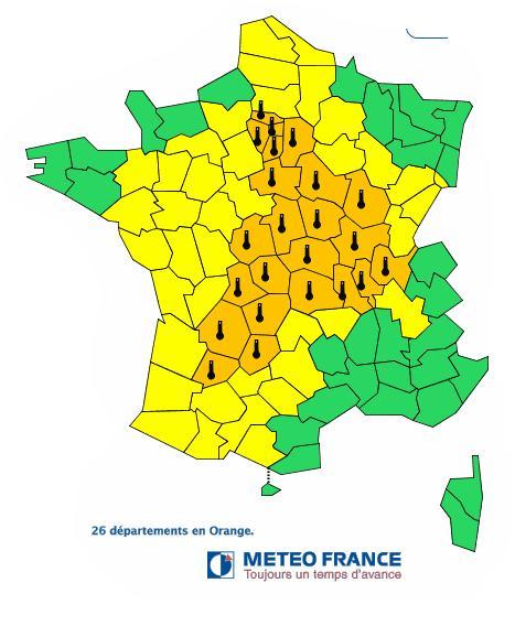 Canicule 26 départements en alerte orange
