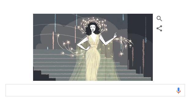 Le Doodle consacré à Hedy Lamarr propose une vidéo dans le plus pur style de l'âge d'or de Hollywwood. Photo (c) Google