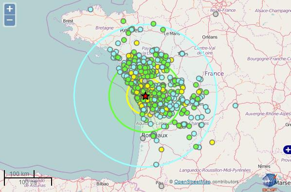 Le tremblement de terre de la Rochelle ressenti jusqu'à Bordeaux et Rennes