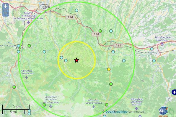 tremblement de terre Bagnères de Bigorre