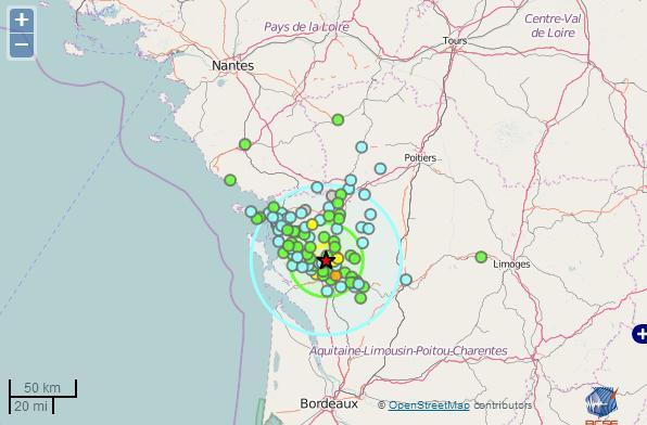 Nouveau tremblement de terre en Charentes Maritimes