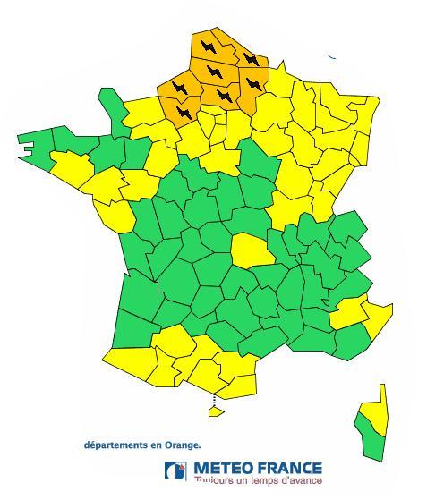 Orages Violents. 7 départements du Nord de la France en alerte vigilance orange