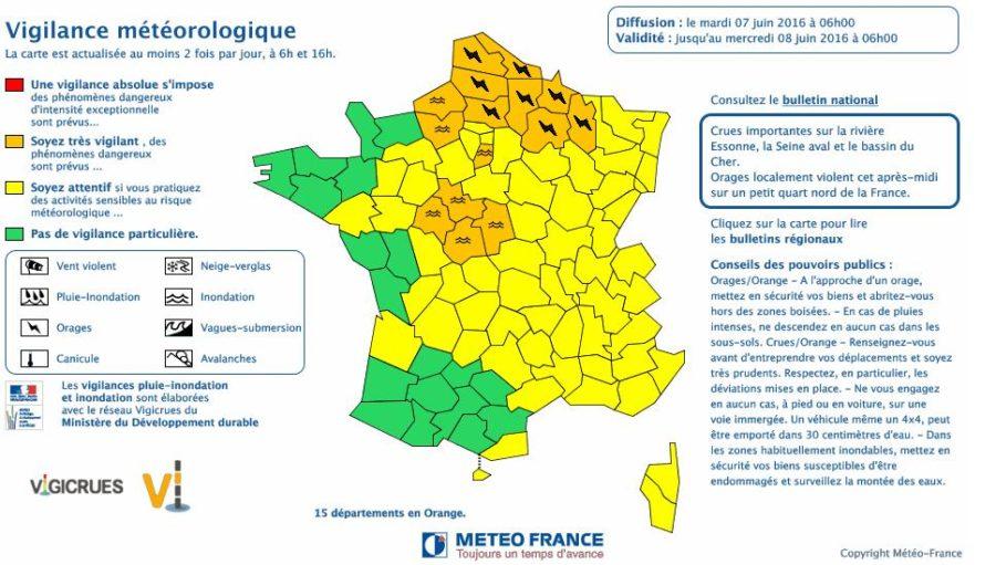 Orages Inondations 15 D Partements En Alerte M T O Vigilance Orange
