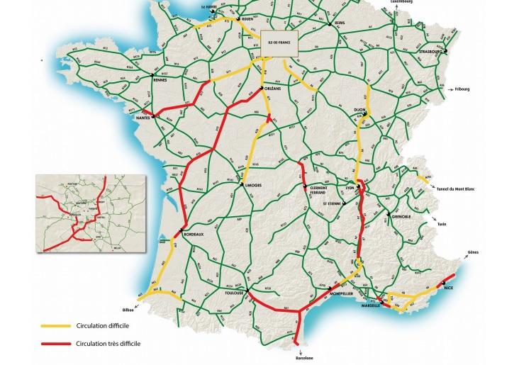 Journée rouge sur la route entre Toulouse et Narbonne ce dimanche