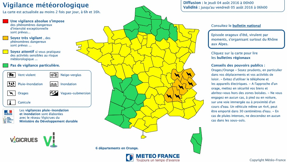 Orages Toulouse Haute Garonne alerte météo jaune