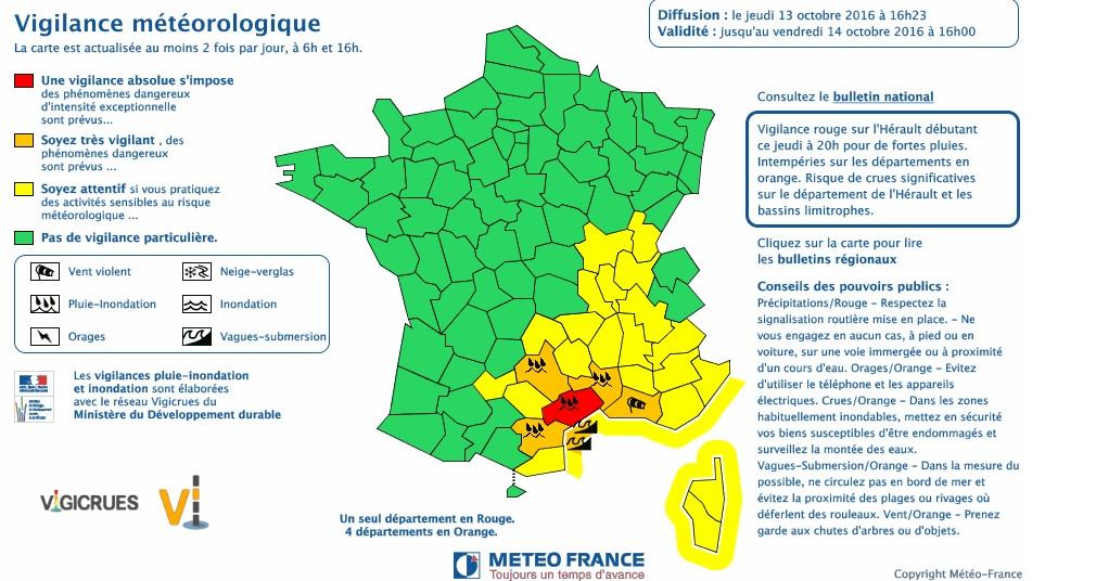 Montpellier et h rault en alerte m t o vigilance rouge - Meteo agricole montpellier ...