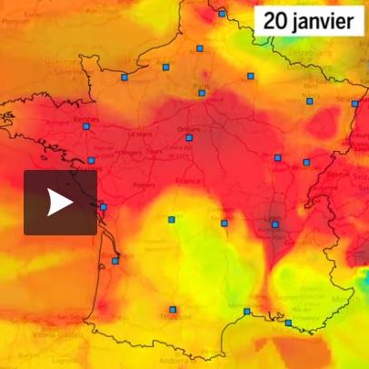 Le pic de pollution illustré par des cartes du nuage de particules fines