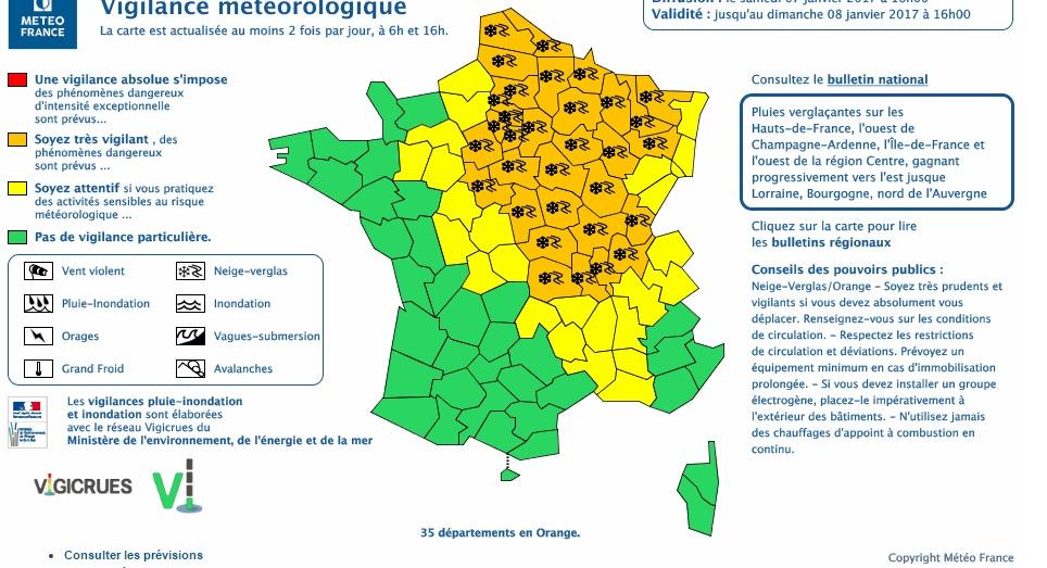 Neige Verglas. l'alerte météo vigilance orange étendue à 35 départements