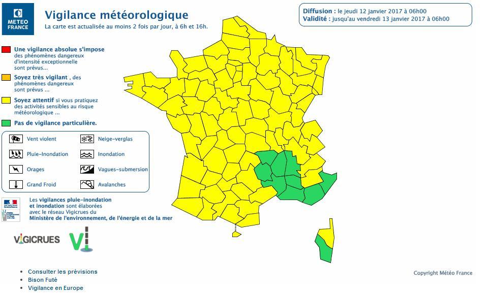 Vents et Risques avalanches Haute Garonne alerte météo vigilance jaune