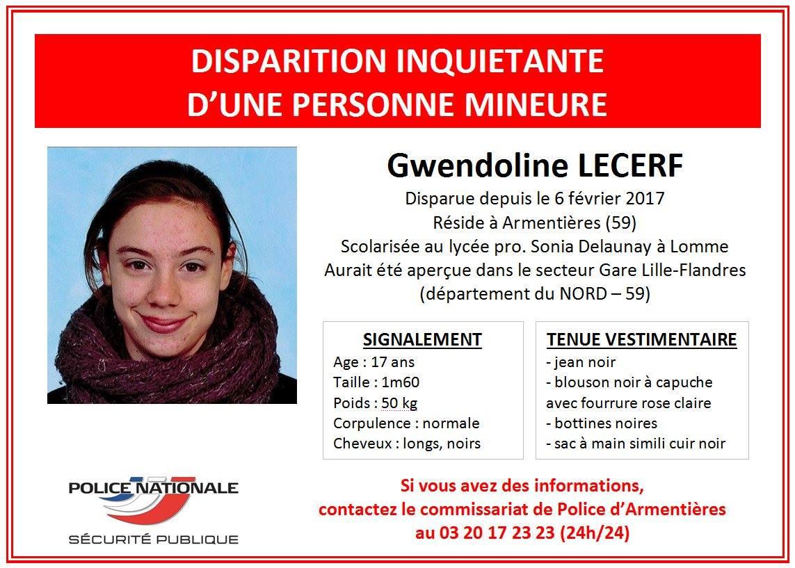 Disparition inquiétante à Lille. avis de recherche de la police