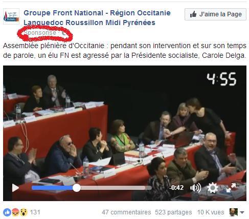 Le Clash Carole Delga Front National publicité FN Facebook