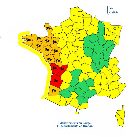 Vent violents. Gironde, Charente et Charente Maritime en alerte vigilance rouge