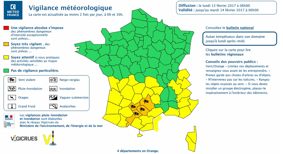 Vents violents. l'Alerte météo vigilance orange prolongée lundi à Toulouse