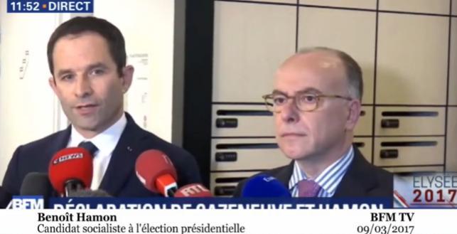 Benoit Hamon reçoit le soutien de Bernard Cazeneuve qui appelle au rassemblement