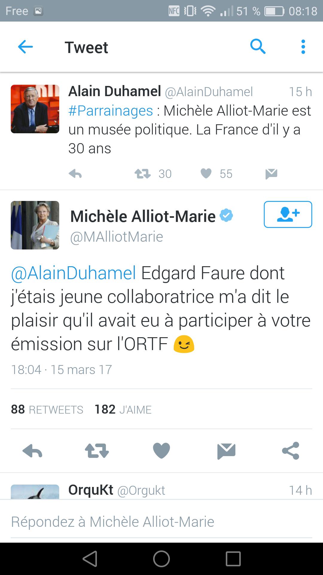 Clash Alliot-Marie Duhamel