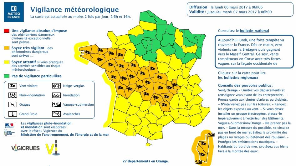Tempête sur la France. 27 départements en alerte vigilance orange