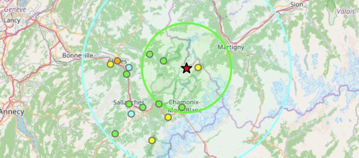 Tremblement de terre dans le massif du Mont Blanc