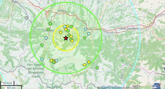 tremblement de terre séisme 4.2 Tarbes Lourdes