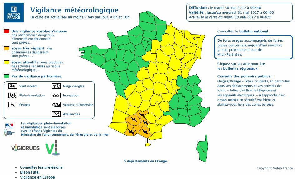 Orages Violents. Toulouse et la Haute Garonne en alerte météo vigilance orange