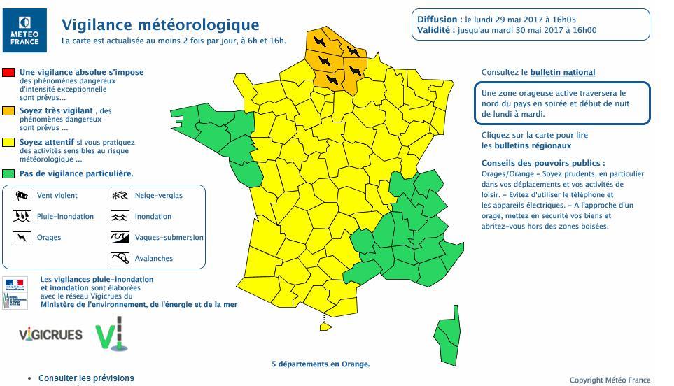 Orages. 5 départements en alerte météo vigilance orange