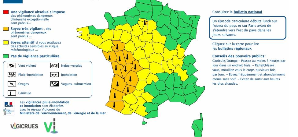 Alerte Canicule vigilance orange dans 16 départements