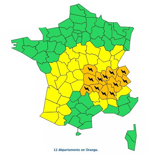 Orages violents. 12 départements placés en alerte vigilance orange