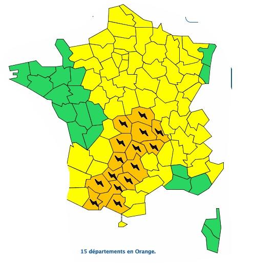 Orages Violents. Tarbes, Albi, Auch, Foix ou Montauban en alerte vigilance orange