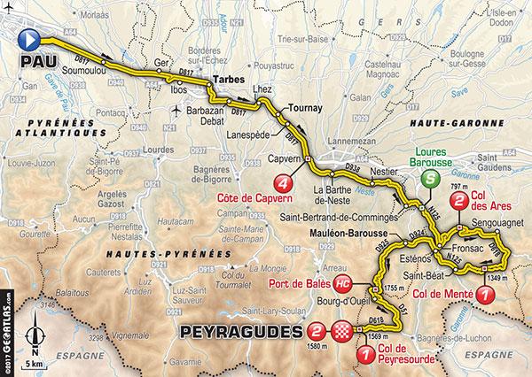 Tour de France. Pau, Tarbes, Capvern, Saint Beat, Peyragudes, l'itinéraire