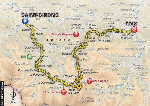 Saint Girons - Foix. itinéraire et horaires de passage du Tour de France