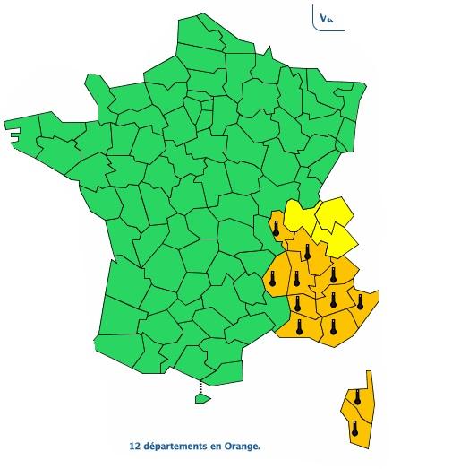 Le sud est de la France maintenu en alerte canicule vigilance orange