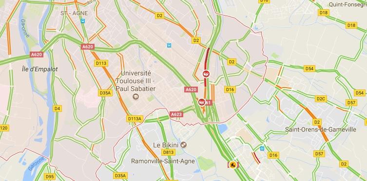 Accident sur la rocade de Toulouse. difficultés de circulation Palays, Montaudran