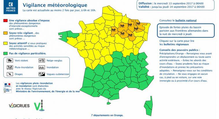 Alerte aux fortes pluies, 7 départements en vigilance orange