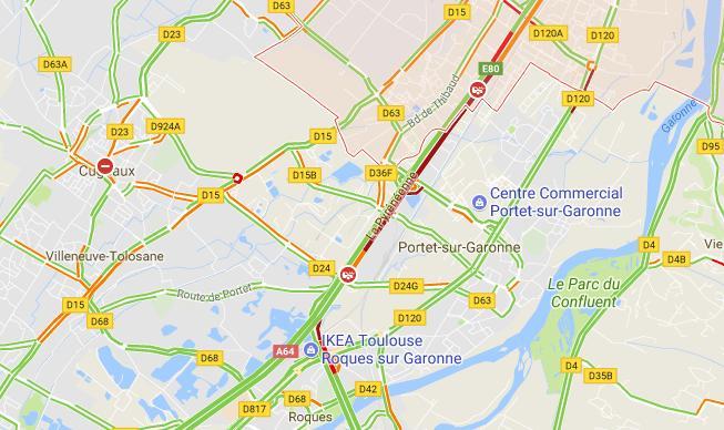 Accident sur l'A64 au sud de Toulouse. Circulation très perturbée