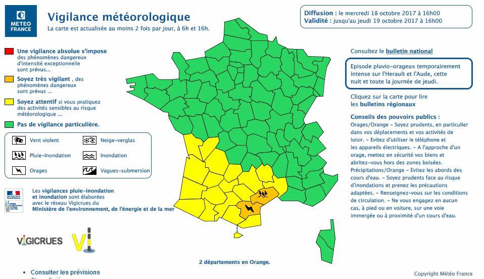 Orages Inondations. Aude et Hérault en alerte vigilance orange