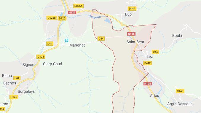 Saint Béat. fermeture de la RD44 pour risque de chutes de Pierres