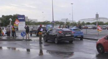 Airbus. manifestation des salariés Capegemini et bouchons sur Toulouse