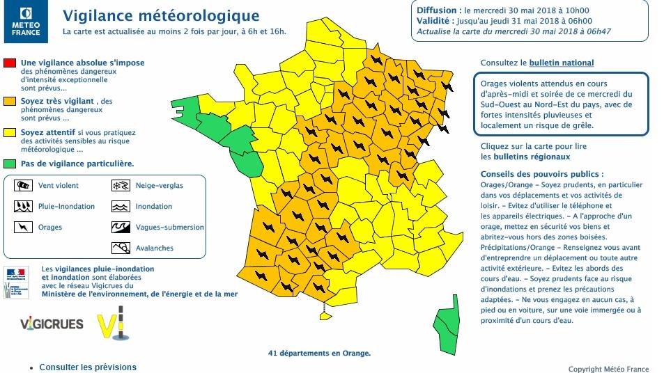 Orages. Toulouse et le 31 en alerte météo vigilance orange