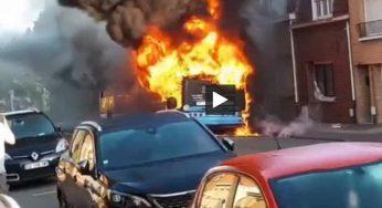 Incendie d'un bus à Dunkerque, des images impressionnantes