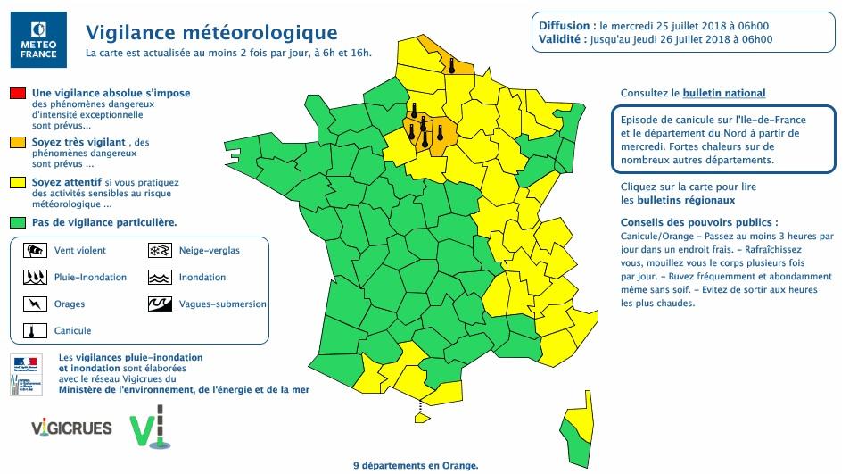 Canicule. Paris, île de France, Nord, 9 départements en alerte vigilance orange