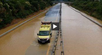 Vidéo : l'impressionnante inondation de l'Autoroute Toulouse Tarbes