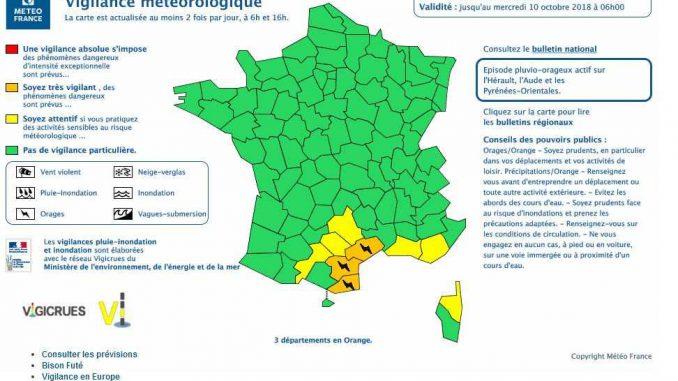 Ce Mardi, il est prévu que les orages perdurent sur l'ouest de l'Hérault et l'est de l'Aude, et touchent en partie les Pyrénées Orientales entre le Vallespir et les Corbières notamment. La chronologie de ces salves orageuses et leur localisation précise reste cependant délicate à cette échéance de prévision. Les averses restent assez fortes et peuvent donner 30 à 50 mm de pluie en peu de temps sur ces régions. Les cumuls les plus forts attendus aujourd'hui sont de 50 à 80 mm, voire localement 100 à 130 mm en pointe. Outre les cumuls de pluie et l'activité électrique, quelques chutes de grêle et des rafales de vent sont possibles. A noter qu'une période d'accalmie est probable en fin de journée. Mais une réactivation marquée, avec des orages qui devrait être bien plus actifs, est attendue en cours de nuit de mardi à mercredi puis pour la journée de mercredi.