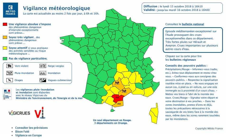L'Aude reste en alerte vigilance rouge Inondations