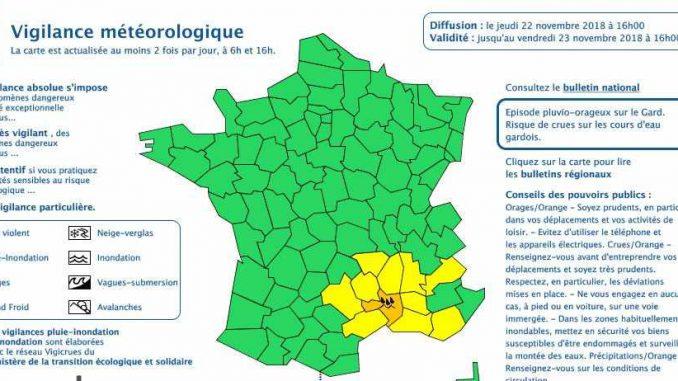 Le Gard en alerte météo vigilance orange, pluies inondations