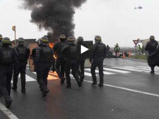 à Toulouse, les Gilets Jaunes ont bloqué les dépôts Airbus puis Amazon