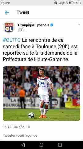 Ligue 1. Le match Toulouse Lyon reporté à la demande du Préfet