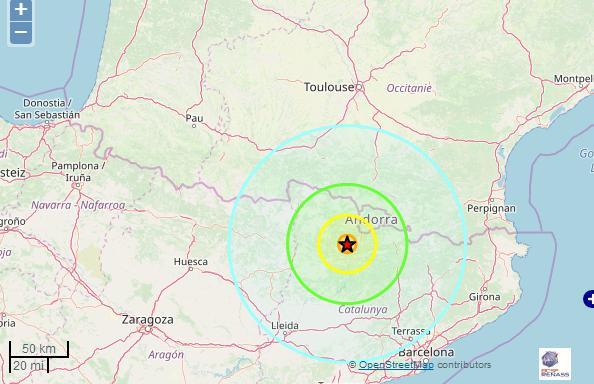 Tremblement de terre de 4.5 dans les Pyrénées