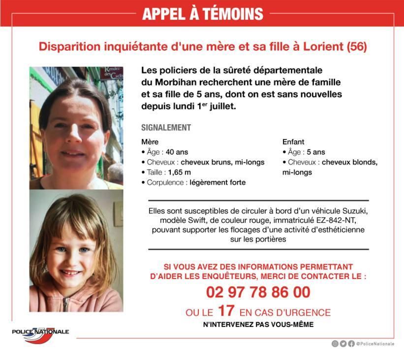 Un mère de famille et sa fille de 5 ans disparues depuis lundi