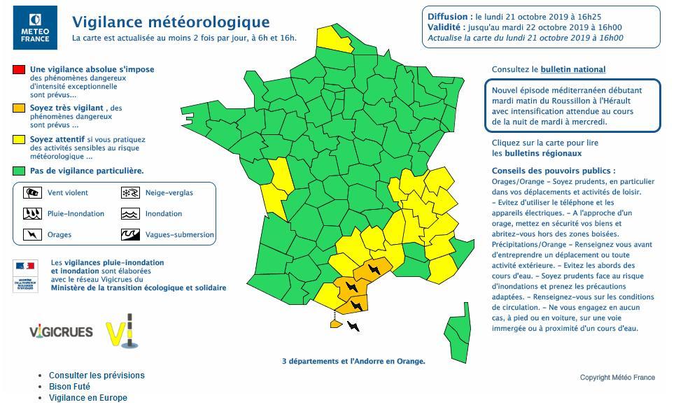 Pluies Vents violents Alerte vigilance orange et jaune