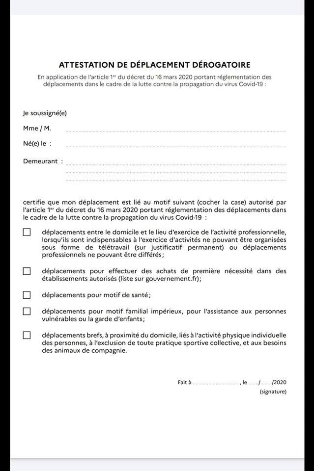 coronavirus  comment remplir son attestation de d u00e9placement